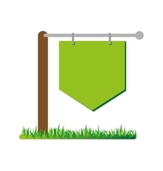 Empty signpost on grass icon vector