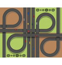 Aerial scene with cars on the roads vector