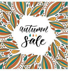 Autumn sale calligraphy on bright background hand vector