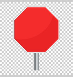 Blank red stop sign icon empty danger symbol vector