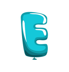 Capital letter e in shape of blue air balloon vector