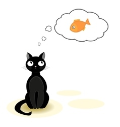 Cat dreaming about fish vector