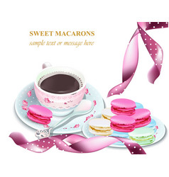 chocolate and macaroons on a plate colorful vector image