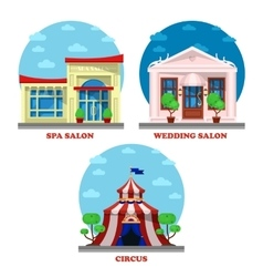 Circus and spa salon wedding building exterior vector