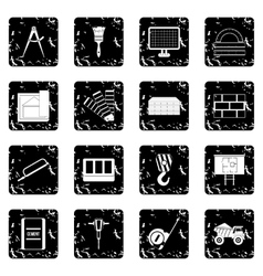 Construction set icons grunge style vector image vector image