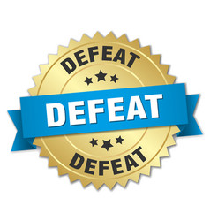 defeat round isolated gold badge vector image vector image