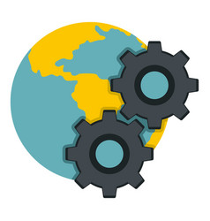 earth and gears icon isolated vector image