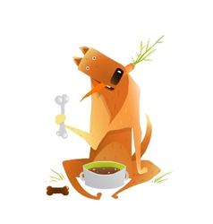 Feeding happy red dog healthy balanced diet vector