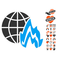 Global fire icon with love bonus vector