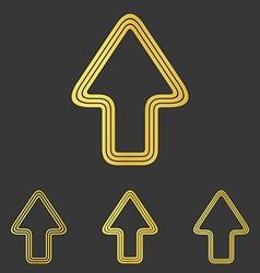 Golden line upwards logo design set vector