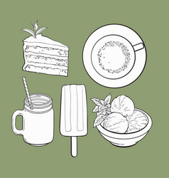 Hand drawn food with matcha tea - ice cream cake vector