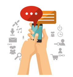 Hand holds mobile phone bubble speech chat vector