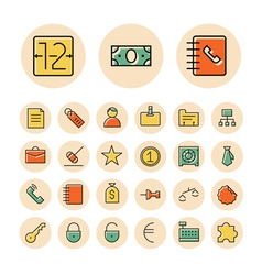 icons thin red business banking vector image vector image