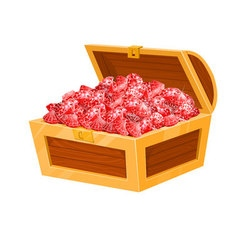 Isolated chest with red rubies game desing vector