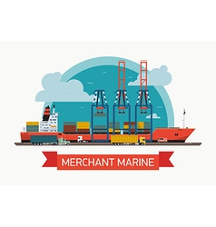 Merchant marine freight poster vector