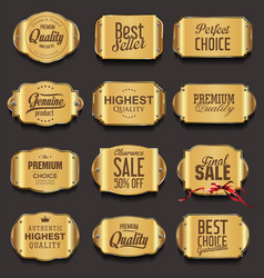 metal plates premium quality golden collection vector image