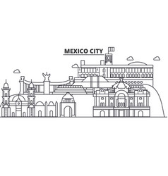 mexico city architecture line skyline vector image
