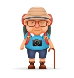 Old Backpacker Man Grandfather Photo Camera 3d vector image vector image