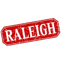 Raleigh red square grunge retro style sign vector