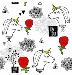 Romantic seamless pattern with black and white vector