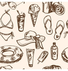 Seamless pattern with summer elements in sketch vector image