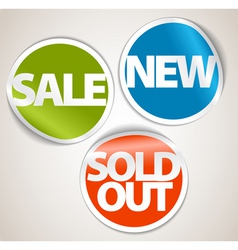 set of labels for the new sold out and discount it vector image vector image