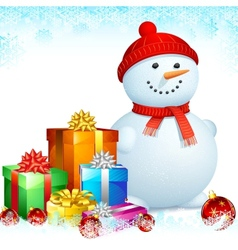 Snowman with Christmas Gifts vector image vector image