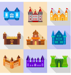 Types of stronghold icons set flat style vector