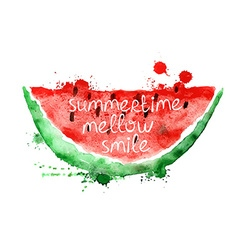 Watercolor with slice of watermelon vector