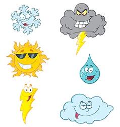 Weather Symbols Cartoon Character vector image vector image