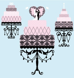 wedding and birthday cakes vector image vector image