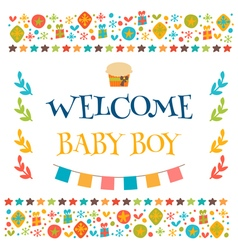 Welcome baby boy shower card arrival card cute vector