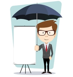 Young businessman with a poster and an umbrella vector image vector image