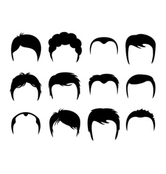 Men silhouette shapes of haircuts vector