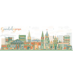abstract guadalajara skyline with color buildings vector image