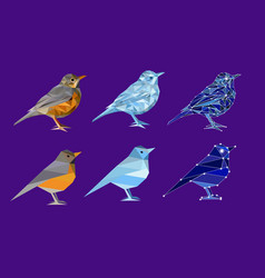Set of birds in polygon style vector