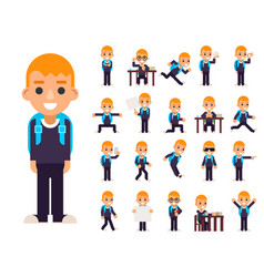 School boy student pupil in different poses and vector