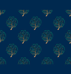 green tree seamless on indigo blue background vector image