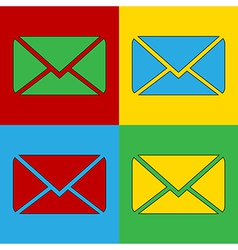 Pop art mail icons vector