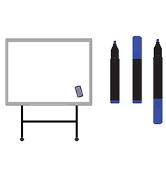 Whiteboard with markers vector image