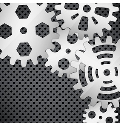 Abstract background with gears on circular grid vector image