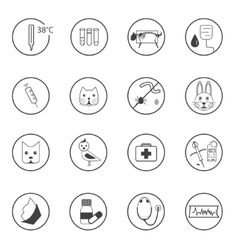 A set of flat vet icons vector image vector image