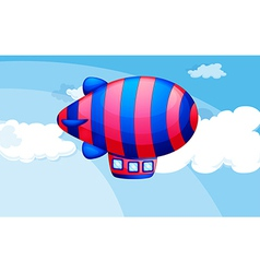 A stripe-colored airship in the sky vector image vector image