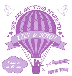 ballohot air balloon wedding invitation vector image vector image
