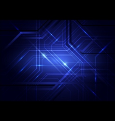 Blue abstract circuit board and lines background vector image vector image