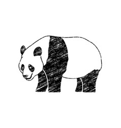 Cartoon fat panda standing side view vector