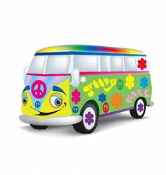 cartoon hippie bus vector image vector image