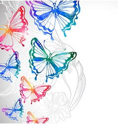 colorful background with watercolor butterflies vector image vector image