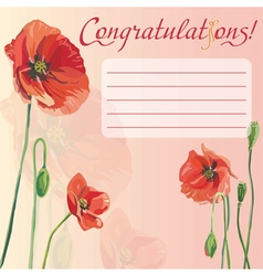Congratulation card with flowers red poppy vector image vector image