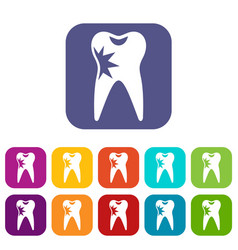Cracked tooth icons set vector